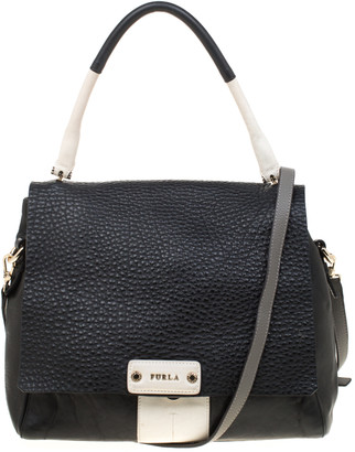 Furla Black And White Leather Top Handle Bag