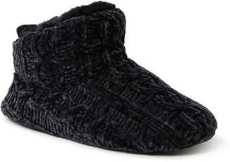 Dearfoams Marled Cable Knit Chenille Bootie Slippers
