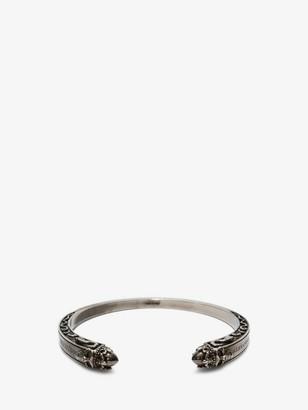 Alexander McQueen Twin Skull Engraved Bracelet