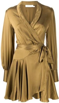 Zimmermann long-sleeve wrap mini dress
