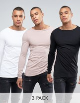 Asos 3 Pack Long Sleeve Extreme Muscle T-Shirt In White/Black/Pink With Boat Neck SAVE