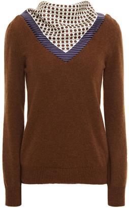 Oscar de la Renta Polka-dot Satin Twill-paneled Cashmere Sweater