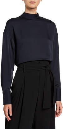 Jason Wu Mock-Neck Long-Sleeve Silk Tie Blouse