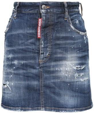 DSQUARED2 Icon Print Cotton Denim Mini Skirt