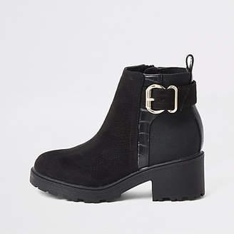 River Island Girls black buckle heeled boots