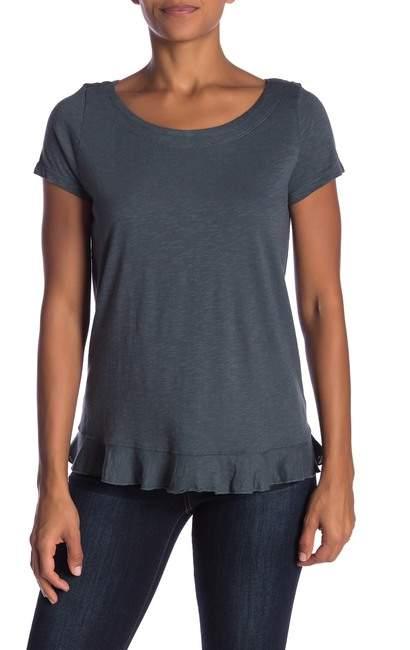 Susina Boatneck Short Sleeve Ruffle T-Shirt (Regular & Petite)