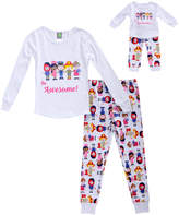 Dollie & Me White 'Be Awesome' Pajama Set & Doll Outfit - Toddler & Girls