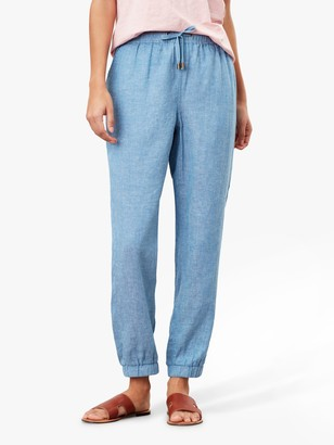 Joules Cecelia Pull-On Linen Blend Trousers, Blue