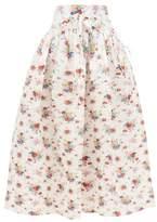 Horror Vacui Toga Floral-print Cotton Midi Skirt - Womens - White Print