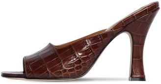Paris Texas 90mm Croc Embossed Leather Mule Sandals