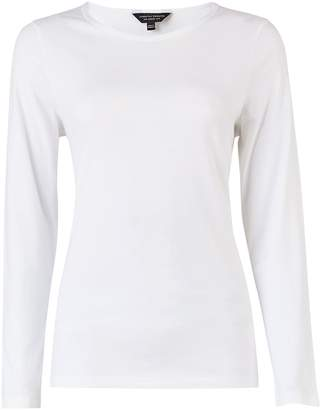 Dorothy Perkins Womens White Long Sleeve Crew Neck Cotton Cotton T