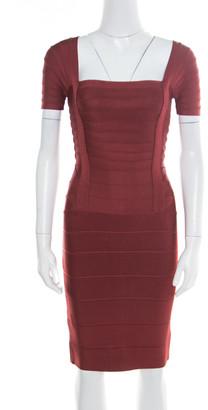 Herve Leger Burgundy Stretch Knit Cap Sleeve Bandage Dress XS