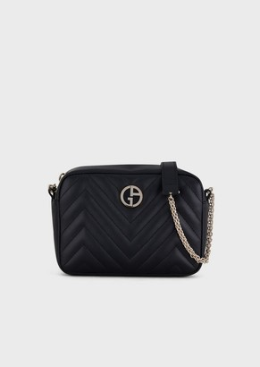 Giorgio Armani Nappa Leather Cross-Body Bag With Enameled Logo