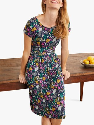 Boden Amelie Floral Print Jersey Dress, Navy/Paradise