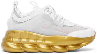 Versace White and Gold Chain Reaction Sneakers