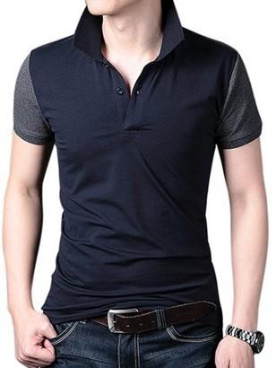 Glowsol Young Horse Men Cotton Contrast Color Short Sleeve Elastic Polo Shirt Grey XL