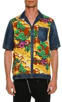 DSQUARED2 Denim & Hawaii-Print Bowling Shirt