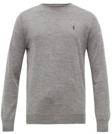 Polo Ralph Lauren Logo-embroidered Merino Wool Sweater - Mens - Grey