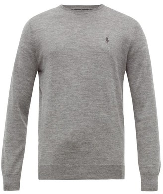 Polo Ralph Lauren Logo Embroidered Merino Wool Sweater - Mens - Grey