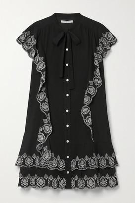 Derek Lam 10 Crosby Kalia Ruffled Embroidered Cotton-voile Mini Dress - Black