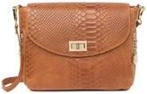 Roberta M Croc Embossed Leather Saddle Crossbody Bag