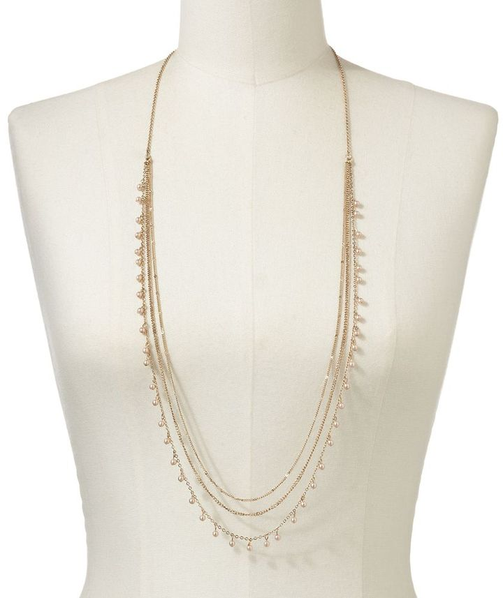 Lauren Conrad gold tone simulated pearl long swag necklace
