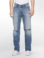 Calvin Klein Mens Slim Leg Essential Blue Destructed Jeans