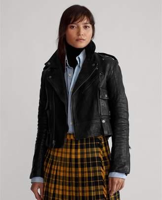 Ralph Lauren Cropped Leather Moto Jacket