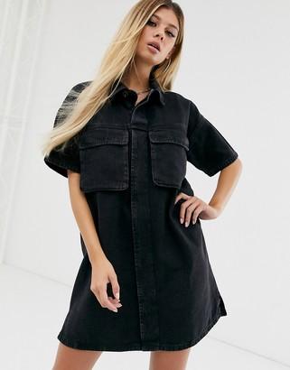 ASOS DESIGN denim boxy oversized shirt dress in black