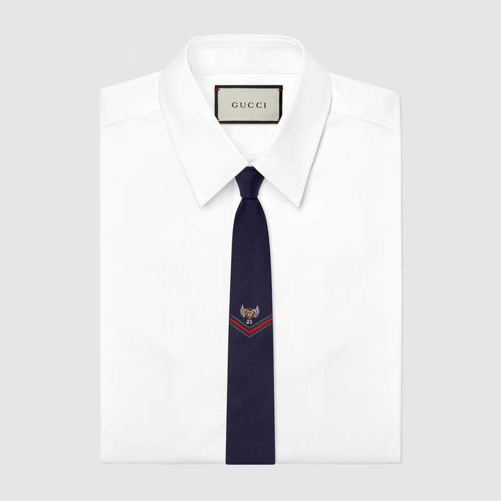 Gucci Embroidered underknot silk tie