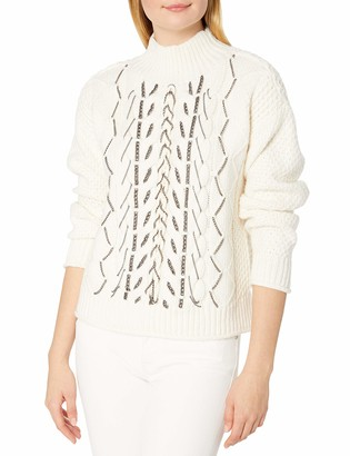 Vince Camuto Women's Chain Trim Cable Stitch Mock Neck Sweater