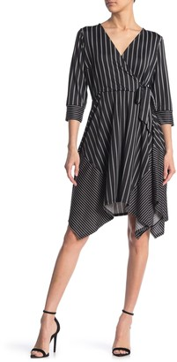 Love Squared Stripe Print Side Tie 3/4 Sleeve Dress