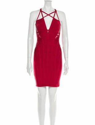 Herve Leger Halterneck Mini Dress Red