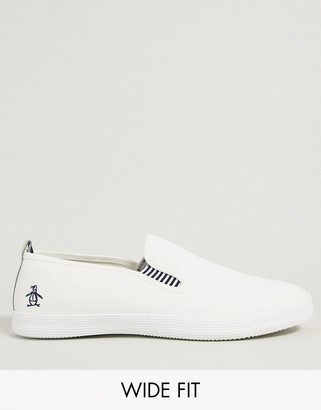 Original Penguin wide fit side stripe slip on plimsoll in white