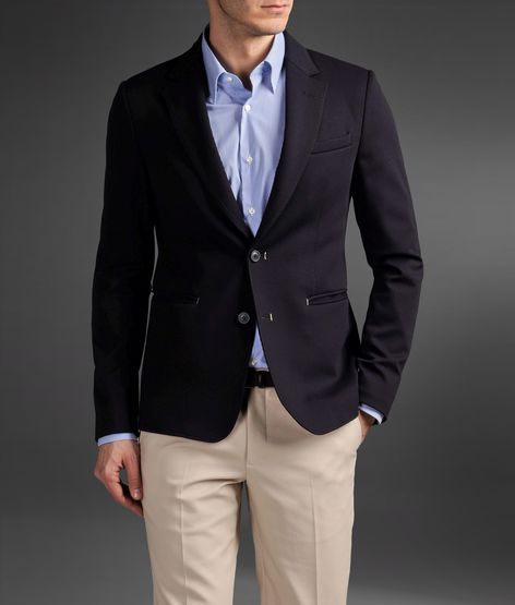 Emporio Armani Two-Button Jacket In Solid Color Jersey