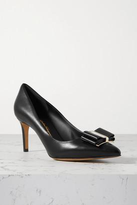 Salvatore Ferragamo Zeri Bow-embellished Leather Pumps - Black