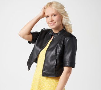 Isaac Mizrahi Live! Elbow-Sleeve Faux Leather Cropped Jacket