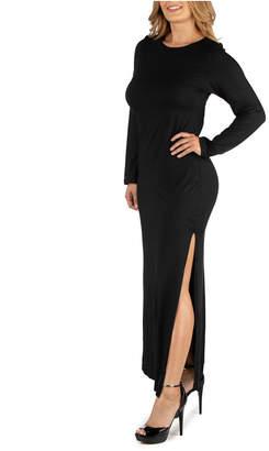 24Seven Comfort Apparel Form Fitting Long Sleeve Side Slit Plus Size Maxi Dress