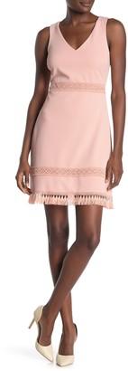 Kensie Solid Crochet Tassel Trim Sheath Dress
