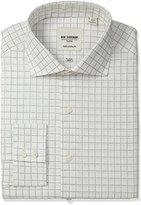 Ben Sherman Men's Slim Fit Dobby Check Spread Collar Dress Shirt
