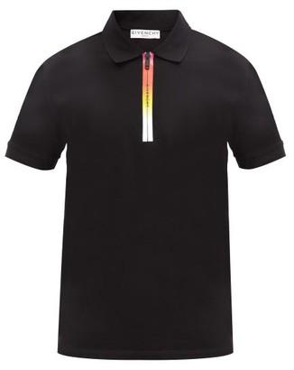 Givenchy Ombre-zipped Cotton-pique Polo Shirt - Black