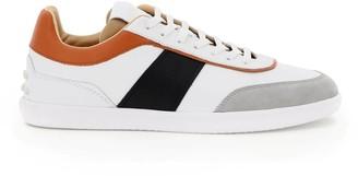 Tod's MULTICOLOUR LEATHER SNEAKERS 6 White, Black, Orange Leather