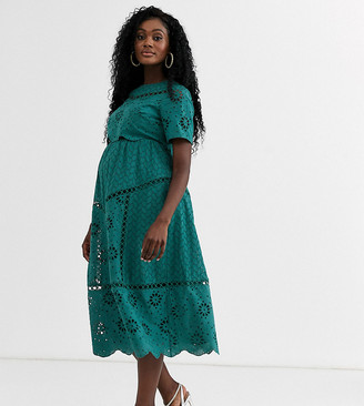 ASOS DESIGN Maternity broderie double layer midi dress