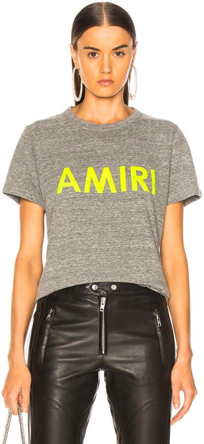 Amiri Tee in Heather Grey & Neon Yellow | FWRD
