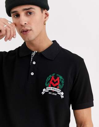 Love Moschino embroidered crest polo shirt-Black