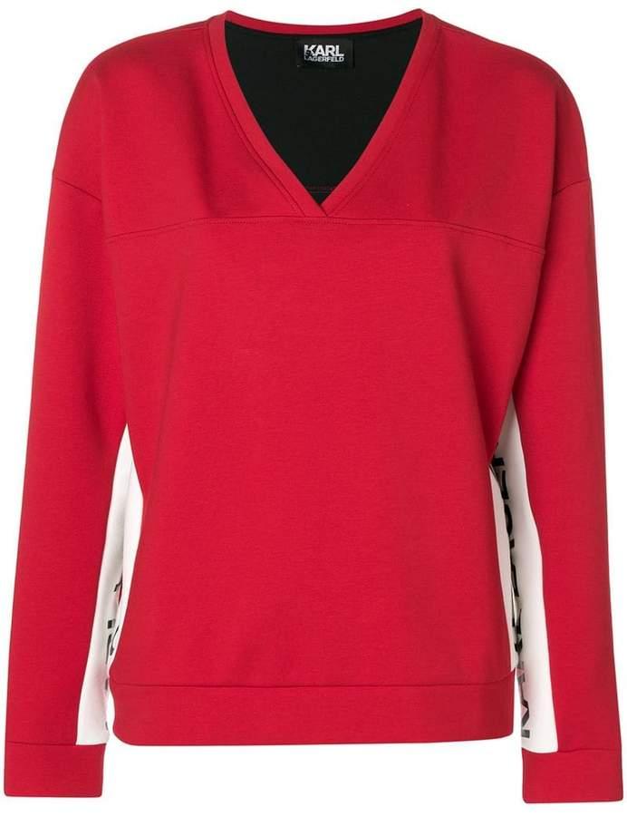 Karl Lagerfeld Paris v-neck logo sweatshirt