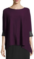 Eileen Fisher Cashmere-Blend Boxy Top w/ Leather Trim, Deep Raisin