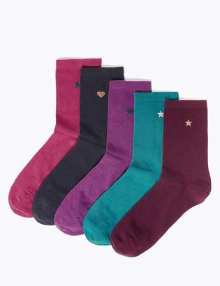 Marks and Spencer 5 Pair Pack Printed Ankle Socks