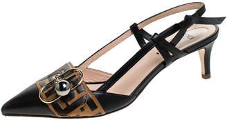 Fendi Black/Brown Leather Buckle Strap Logo Slingback Pointed Pumps Size 37.5