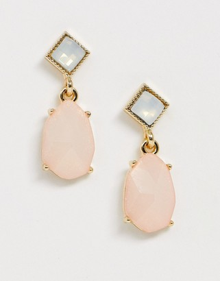 Asos Design DESIGN earrings with pastel pink jewel drop and faux opal stud
